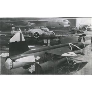 1957 Press Photo Rocket Missile Jet Plane Boeing Aircra