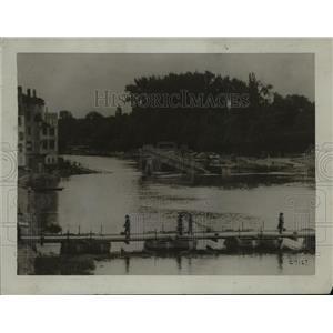 1918 Press Photo River Marne, France Pontoon Bridge - ftx00036