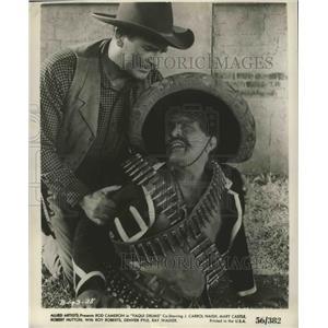 "1956 Press Photo Rod Cameron in ""Yaqui Drums"" co-starring J. Carrol Naish"