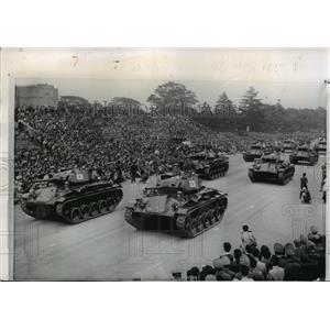 1957 Press Photo Japanese Tanks, Meiji Shrine Gardens, Self-Defense Forces Day