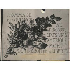 1921 Press Photo France Honors US War Dead