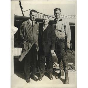 1929 Press Photo E.Hilburn, J.S.Abreau and Reed Vowles, Evolves plane Safety
