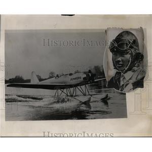 1931 Press Photo Aviator Seijo Yoshiuwara and his aircraft - neo00647