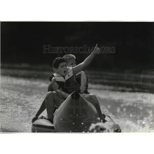 1994 Press Photo Trenton Ladwig on Raft at Camp Wakonda - mja52081