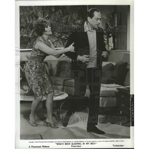 1963 Press Photo Who's Been Sleeping in My Bed with Louis Nye & Jill St John