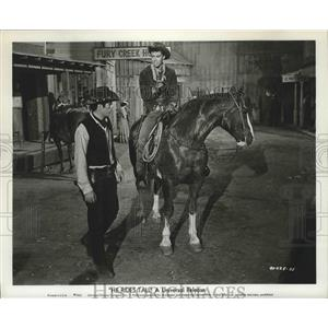 """1963 Press Photo Carl Reindall and Tony Young in the film """"He Rides Tall"""""""