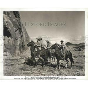 """1961 Press Photo Audie Murphy, John Saxon, Rudy Acosta in """"Posse From Hell"""""""