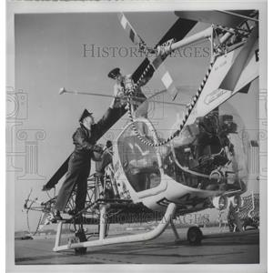 1954 Press Photo Bell HTL-5 Helicopter Rotor on Icebreaker Atka Boston Harbor
