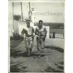 1931 Press Photo Jake Russell & boxer Young Stribling do road work training