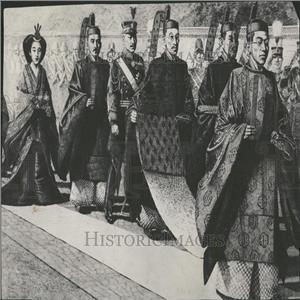 Press Photo Drawing Imperial Wedding Hirohito Tokyo