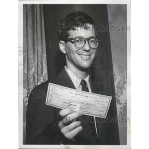 "1957 Press Photo Joel Kuppermanon the ""$64,000 Challenge"" Quiz Show - ftx02610"