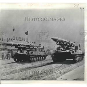 1970 Press Photo Czechoslovakian Armored Carriers in Karlovy Vary - ftx02159