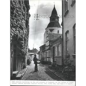 1983 Press Photo 18th Century Buildings on Faaborg, Funen Island Streets Denmark