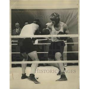1929 Press Photo Jack Sharkey boxing with Johnny Grosso during training session
