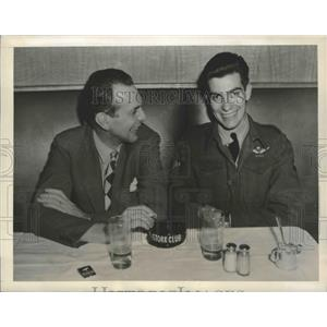 1945 Press Photo Actor Raymond Massey & son Jeffrey at NYC Stork Club