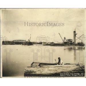 1926 Press Photo Bridge Construction Over Tensaw River in Mobile, Alabama