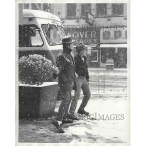 1960 Press Photo Snow Falls in Birmingham, Alabama Streets - abnz01278