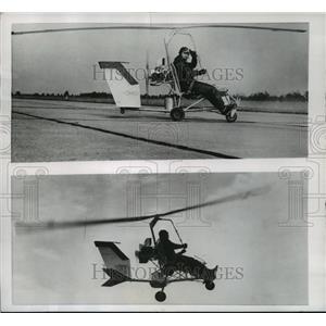 1956 Press Photo Igor Benson Demonstrates His Tiny Do-It-Yourself Helicopter