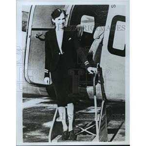 1977 Press Photo Pat Eccleston in a TCA Stewardess Second Uniform - mja60397