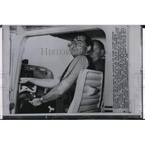 1963 Wire Photo Patrick Hemingway at the controls of a small plane in Berkeley