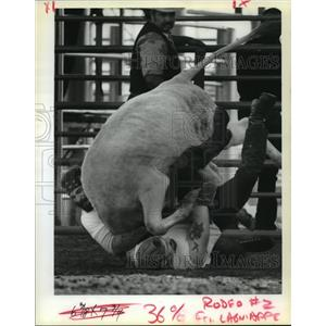 1989 Press Photo Angola State Penitentiary - Inmate Cowboys at Prison Rodeo