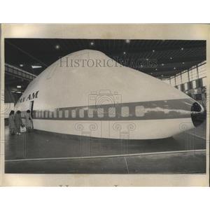 1969 Press Photo Mockup of 747 Super Jet Exhibited at International Trade Fair