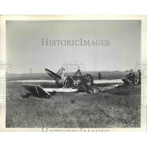 1941 Press Photo Low-Wing North American Training Plane After Catching Fire