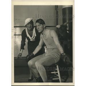 1932 Press Photo heavyweight champ Georges Carpentier with actress Irene Bordoni