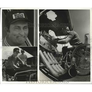 1976 Press Photo Auto racer Ray Godman works on his engine. - sps06207